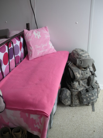 Ahhh CHU, My home away from home in Iraq - Containerized Housing Unit. Full of feminine color in a tan and olive drab world., My Tuff Box made into a functional storage bench - I use it to put my boots on every morning. , Dorm Rooms Design