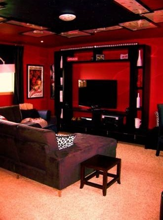 MultiMedia Room, Media room, Lounge, Game room, 2nd Guest Room and Party room all in one!!!!, Simple shelves around the flatscreen with backlighting gives the room a theater feel.  Blackout shades and leather drapes make even the sunniest day perfect for the whole theater effect., Media Rooms Design