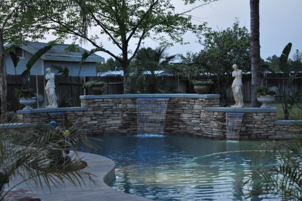 old world rustic, remodeled pool from boring to old world rustic slate tile, stack stone waterfall walls, statues,palm trees , Pools Design