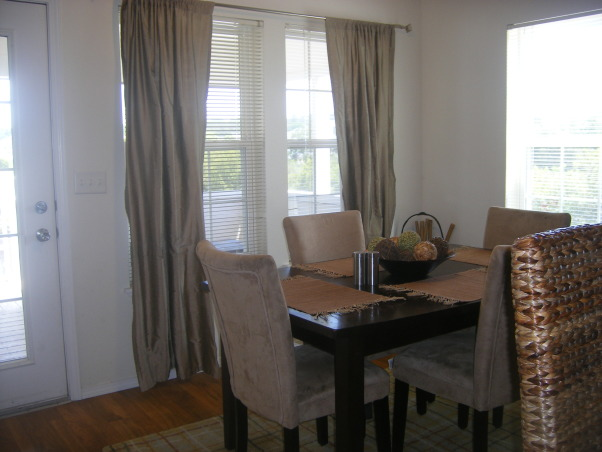 Military Housing Dining Room, We just moved back onto base housing so we can't paint or anything and I don't want to waste money replacing the blinds. I had to make the best of what I had to work with! Let me know what you think and if you have any suggestions!!, Dining Rooms Design