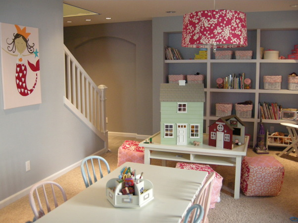 Super Fun Girls Play Room, Large play room with fun pops of color., Basements Design