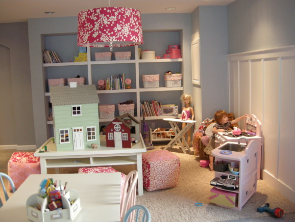 Super Fun Girls Play Room, Large play room with fun pops of color., The fun play room I created for my girls.  My favorite part is the drum shade chandelier! , Basements Design