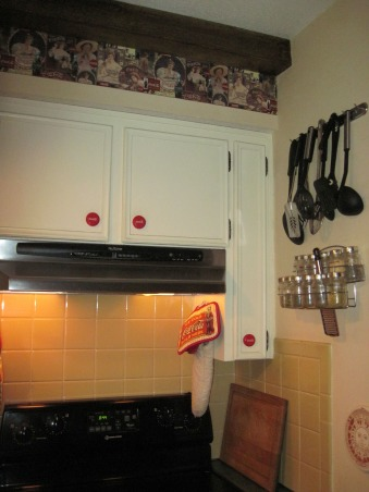 Coca Cola kitchen, Kitchen/dining room with coca cola memorabilia collected from family and friends. Trying to stay with informal diner style., Gold subway tile backspash behind stove and cabinets , Kitchens Design