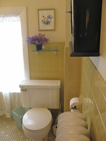 Yellow-Tile Bathroom Makeover: It's finally done. What do you think?, Here's the upstairs bathroom in my 162-year-old house. Take a look at these before and after photos of this bathroom and let us know what you think. You can learn more about the details of this makeover at: http://tinyurl.com/2eg7q2d .  And you can watch an audio-slideshow of the new bathroom here: http://tinyurl.com/29rrcel, Take a look at these before and after photos of this bathroom and let us know what you think. You can learn more about the details of this makeover at: http://tinyurl.com/2eg7q2d And you can watch an audio-slideshow of the new bathroom here: http://tinyurl.com/29rrcel AFTER: The walls were painted a yellowish white with an old fashioned buttermilk paint. It helps to lighten the look of the yellow tiles.   , Bathrooms Design