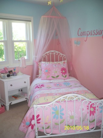 My 6 year olds inspirational bedroom , This is the second time we have painted my daughters room since we moved in our home 2 years ago.  I never liked it the first time so I went and bought all new bedding and had a women do some hand painting for me.  Now I love it.  I still have a few little things that I would love to do.  It is a fairly small space so I don't want it to feel too cramped.  It is hard with a 6 year old!!  Please do leave comments.     , Girls' Rooms Design