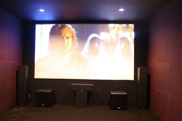 Basement media room, Lights on., Media Rooms Design