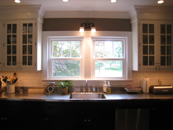Colonial Kitchen Renovation Update, We FINALLY finished all the mouldings in our not-quite-new-anymore kitchen! It took a while, but my husband built them all himself. Still haven't decided on window treatments..., Lighting is from Restoration Hardware. STILL looking for the perfect window treatments!     , Kitchens Design