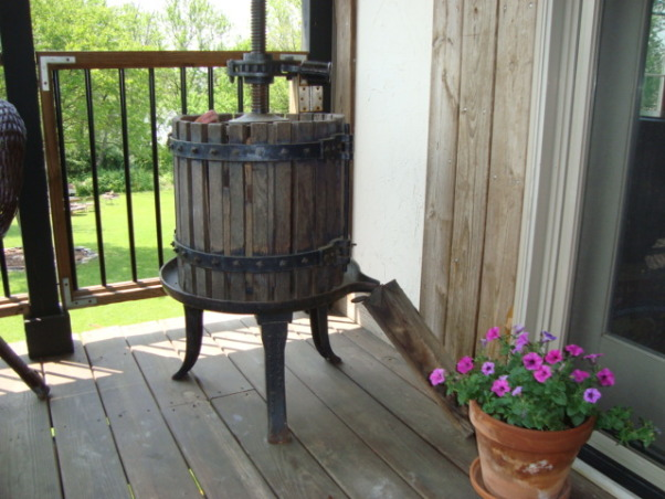 Recycled Wood from my neighbors torn down deck, Who would ever think that an old torn out deck could be re-created into new furniture and decorative pieces, antique wine press  , Patios & Decks Design