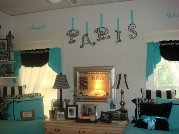 Sorority house style with Tiffany Dorm Bedding Flair, Amanda and Julianne ADPi sorority sisiters and BFF's studied abroad in Europe and brought Tiffany look linked with Pairs flair to the house!, Paris Flair for the world travelers! Note wall art with names  , Dorm Rooms Design