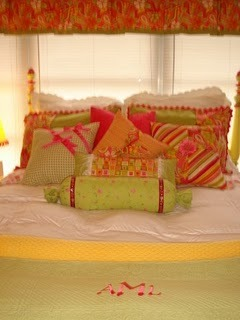 College Dorm Apartment- Bright Custom Look, Small Sunroom college dorm  house extension becomes dazzling sunlight retreat., dorm apartment bedding with custom pillows, painted headboard, monogrammed runner or bed scarf.  Bed on risers for max storage   , Dorm Rooms Design