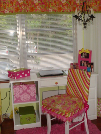 College Dorm Apartment- Bright Custom Look, Small Sunroom college dorm  house extension becomes dazzling sunlight retreat., Slipcovered dorm chair, hadnpainted drawer knobs, crystal chandelier        , Dorm Rooms Design