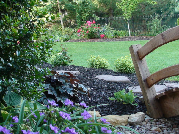 Our Backyard Transformation, Transformation from a clean slate with no privacy or escape from the sun into a suburban garden with interest year round, multiple outdoor rooms, privacy, and shade. The entire transformation was accomplished through sweat equity, in three major phases over the last five years, plus lots of minor additions in between.  The most recent additions were the patio gardens and north border with the Japanese lantern., View from the back patio towards the south west border.  The Fourth of July Roses are in full bloom.     , Gardens Design