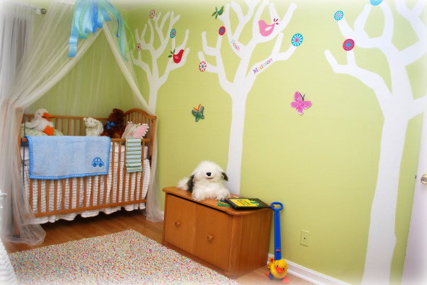 Grandkids room, We are having our 2nd grandchild, so I wanted to make a bedroom for sleep overs.  I wanted the space to be kid friendly, and make them feel special., A tree for each of our 3 children. The grandkids name will go on their parents tree. , Nurseries Design