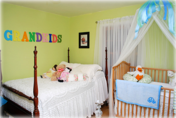 Grandkids room, We are having our 2nd grandchild, so I wanted to make a bedroom for sleep overs.  I wanted the space to be kid friendly, and make them feel special., A bed for our granddaughter  , Nurseries Design