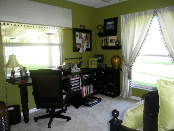 bedroom/office, this is our spare bedroom/office...TOO GREEN????, desk area...(sorry about the messy desk..I am right in the middle of a Picture/scrapbooking project  , Bedrooms Design