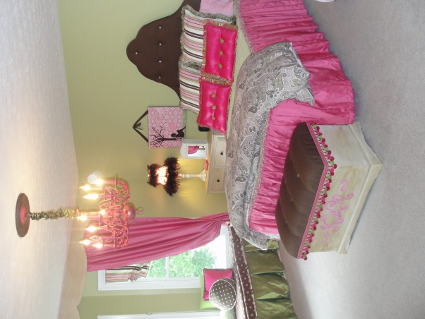 'Not So Shabby' Chic Tween Dreamland, Fun-grownup-but-girlie-shabby-but-chic-glam&glitz bedroom for my 11 year old daughter.  My daughter and I designed this room together, along with two very precious and talented friends of mine.  I couldn't get by without them!!  Everything was done budget-conscious and sewn/painted/stapled/glued/made by me and a friend or two!, My favorite room in the house!!  My daughter's bedroom.  I made the bedding, window seat skirt, drapes,roman shades, pillow shams, added boa feathers to the lampshade and upholstered the headboard and chest.   , Girls' Rooms Design