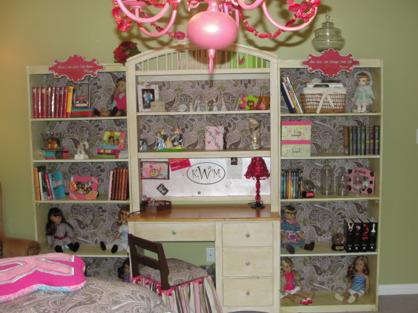 "'Not So Shabby' Chic Tween Dreamland, Fun-grownup-but-girlie-shabby-but-chic-glam&glitz bedroom for my 11 year old daughter.  My daughter and I designed this room together, along with two very precious and talented friends of mine.  I couldn't get by without them!!  Everything was done budget-conscious and sewn/painted/stapled/glued/made by me and a friend or two!, Bookshelves from Target ($30) were added to each side of the desk and hutch.  All were painted to match and fabric lined the backs.  They fit together seamlessly and now we have a ""wall unit"" that looks great! , Girls' Rooms Design"