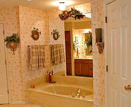 Japanese inspired remodel, Our 80's outdated bathroom received a total redo of everything except the floor.  About 95% of the items were bought on line.  The redo took 20 days. , Original wallpaper and bathtub from our stuck in the 80's bathroom.         , Bathrooms Design
