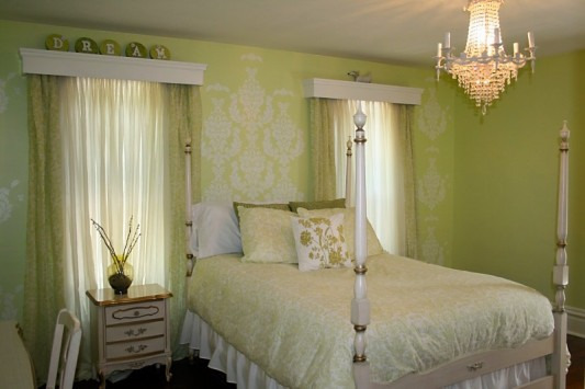 Pretty Feminine Bedroom, Bedroom makeover for my daughter.  Existing French provincial furniture, Mythic paint in Lamorna, PineCone Hill Genevieve bedding (celery), damask stencil, free chandelier spray painted., French Provincial bedroom , Bedrooms Design