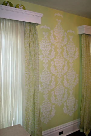 Pretty Feminine Bedroom, Bedroom makeover for my daughter.  Existing French provincial furniture, Mythic paint in Lamorna, PineCone Hill Genevieve bedding (celery), damask stencil, free chandelier spray painted., Bedrooms Design