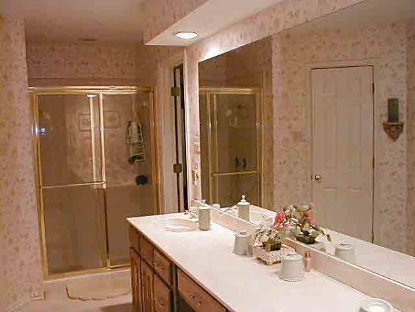 Japanese inspired remodel, Our 80's outdated bathroom received a total redo of everything except the floor.  About 95% of the items were bought on line.  The redo took 20 days. , Counter and shower before remodel.         , Bathrooms Design
