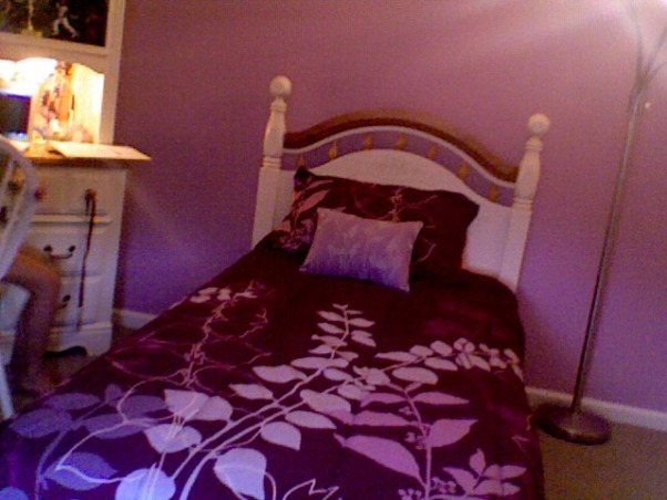 11 year old girls room, This is an 11 year old girls room. This is her bed, which is dark purple, with light pink and purple leaves on it. , Girls' Rooms Design
