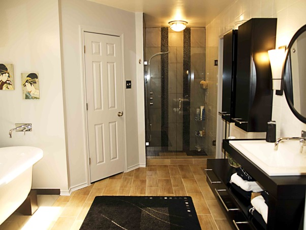 Japanese inspired remodel, Our 80's outdated bathroom received a total redo of everything except the floor.  About 95% of the items were bought on line.  The redo took 20 days. , The new shower with three different kinds of tile has a frame-less shower door.         , Bathrooms Design