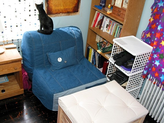 14/15 Year Old Girl's Room (2006), I'm almost 19, but I thought I'd get some opinions on my bedroom from when I was 14 or 15. Did I love the room? No, not really, but I worked with what I had. , Another view of my chair/bed and ottoman (and cat). The pillow is decorated with little buttons. Storage is on the wall right next to it., Girls' Rooms Design