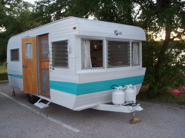 Vintage Travel Trailer, This is my tin can cottage.  I bought a vintage 1959 Kenskill Travel Trailer and began the process of decorating the inside.  I bought it because it had pink appliances - 2 DIE 4!!!  So cute!, 15' long vintage Kenskill Travel Trailer , Other Spaces Design