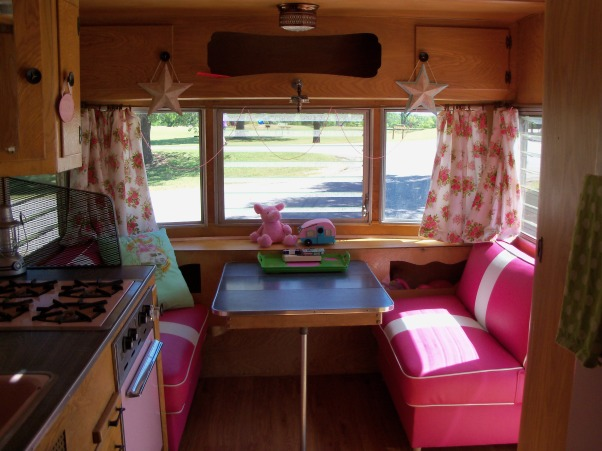 Vintage Travel Trailer, This is my tin can cottage.  I bought a vintage 1959 Kenskill Travel Trailer and began the process of decorating the inside.  I bought it because it had pink appliances - 2 DIE 4!!!  So cute!, Newly upholstered pink seats!   , Other Spaces Design