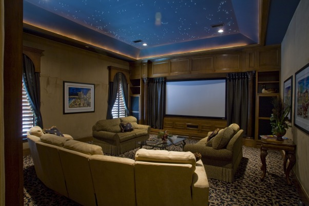 Starry Night Media Room, This space is a dream of a home media room.  Soft sofit lighting and a night mural ceiling add a relaxing feel to this media space.  When the drapes are closed this space will become black - the perfect viewing atmosphere for the ultimate movie buff.  My clients love this space., Media Rooms Design