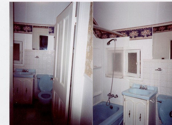 tiny tiny bathroom, it was originally from the 50's - powder blue fixtures.... we didn't have a lot of room to work with in our 100+ year old house, Here are some photos of the bathroom as it was when we bought the house. One of the ugliest bathrooms I've ever seen!, Bathrooms Design