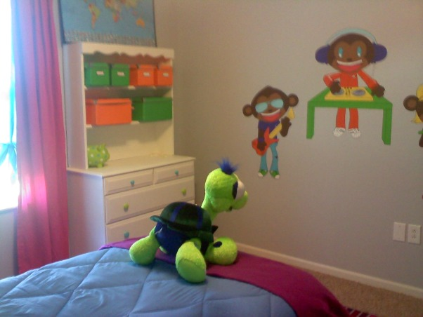 Rockstar Monkey Child's Bedroom, My fiance's daughter requested a bedroom with bright colors, polka dots, stripes, rock stars... and monkeys. Whew! I think we got it all in there..., Bedrooms Design
