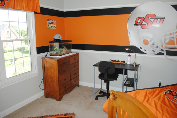 Teen Brother's Oklahoma State Room, My 13 year old brother's room. He LOVES Oklahoma State University, so there is a lot of orange and black!, Boys' Rooms Design