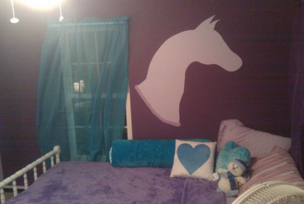 No longer a little girl, not quite teen, My oldest daughter is 7 (going on 16, so she thinks).  I decided to redo our old nursery for her.  She loves horses and saw RMers page by Smacklem and wanted a horse on her wall, but wanted blue and purple... this is what we came up with.  I'm not fully happy... not sure it's really done... any one with additional advice or input, much appreciated. , Girls' Rooms Design
