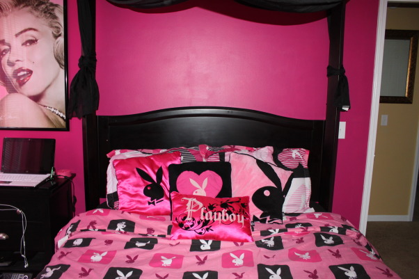 """My Playmate Bedroom;), I have the playboy bunny theme going  for this room. First the walls were a beige color, now they're a hot & soft pink color. For those who don't like the whole """"playboy"""" theme, don't be offended...its just cute room decor:), Girls' Rooms Design"""