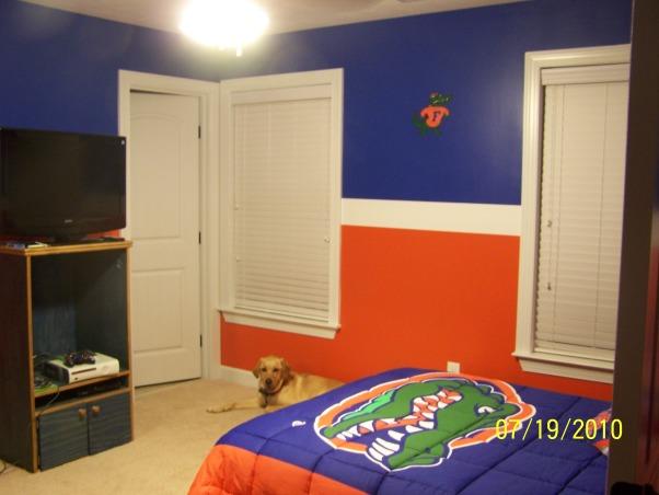 Florida Gators Room, Blue and orange Florida Gators inspired bedroom for teen boy., Boys' Rooms Design