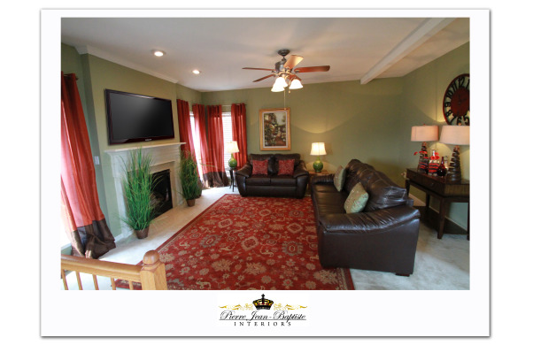 "Green with envy living room, This Living room started with a stark palette. Now by adding warm colors to soften the space, I was able to give my clients the ""cozy"" feel..., Living Rooms Design"