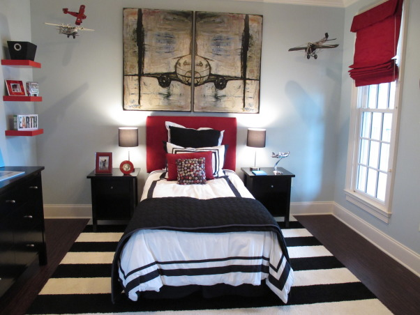 Alex's bedroom!, Inspired by a photo in a design magazine.  Love the way it turned out.  I really like the ice blue, red, and black together. The carpet tiles are from FLOR, headboard from Target, bedding from Pottery Barn and Walmart! Paint is from Restoration Hardware. , Boys' Rooms Design