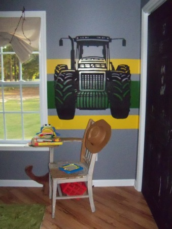 Tractor room, Barn bed with tractor murals. Faux fur rug and trough toy chest. , Boys' Rooms Design