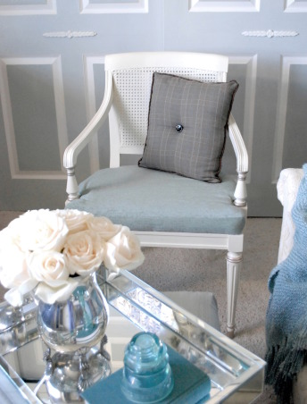 Elegant Home Office, This elegant home office was given a complete makeover by the homeowner.  It features a soothing gray, blue, white and chocolate color scheme. The walls are covered in grasscloth wallpaper and the furniture all crisp white.  Enjoy! , Home Offices Design