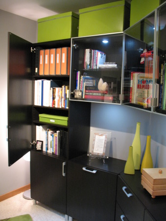 Contemporary Office, This small and challenging pentagonal shape home office was a collaborative refurnishing project with my husband.  We couldn't be happier with the results., Lots of hidden storage.          , Home Offices