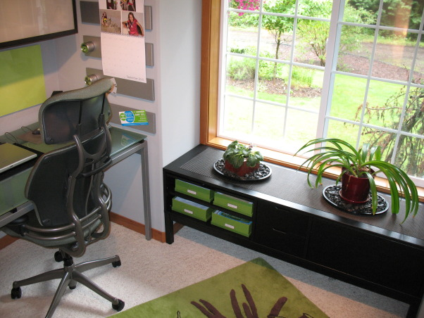 Contemporary Office, This small and challenging pentagonal shape home office was a collaborative refurnishing project with my husband.  We couldn't be happier with the results., More storage.          , Home Offices