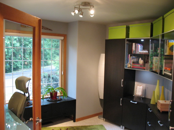 Contemporary Office, This small and challenging pentagonal shape home office was a collaborative refurnishing project with my husband.  We couldn't be happier with the results., Large lime storage boxes above.          , Home Offices