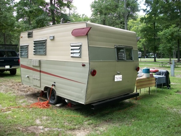 remodeled vintage camper, Trashed camper remodeled on a budget, Painted the outside and added the missing wings  , Other Spaces Design