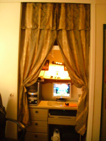 shabby sheik, My boyfriend and I started decorating my bedroom about a month and a half ago.  We would shop at bargain barns, and even found free things on Craigslist.   Working with a tight budget, he painted and I sewed. We ended up spending approximately $60.  I was very happy.  The room is very small and I am looking for a smaller tv stand with storage. , half of the closet is used to have a built in look for the desk area.  Made to look rich with the textured/silk feel of the drapes.  , Bedrooms Design