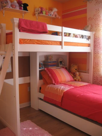 Striped bedroom for 2, This is the bedroom that my 3 & 5 year old girls share.  One likes pink, the other yellow, so we added some orange and went with it.  It is bright and cheerful which fits them well., Girls' Rooms Design