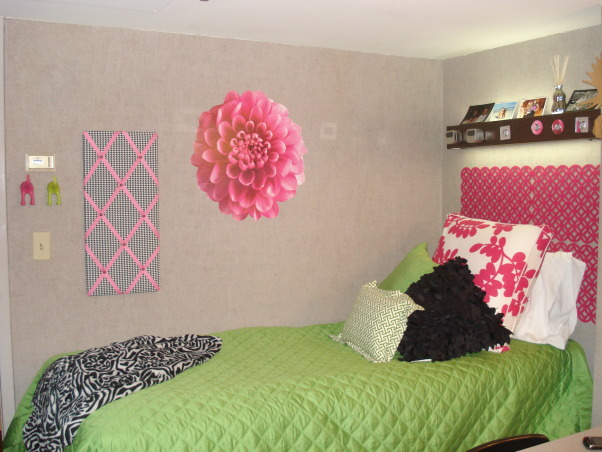 "Pink and Green/College Style, This is my daughter and her roommates' first dorm room, Freshman, so wanted it to be a space for them that was both functional and ""fun"" to live in. Biggest challenges were of course space, as with most dorm rooms, and also color. They wanted to use pink and green which can be a bit ""juvenile"" looking so also added black and a few modern twists to make it more adult .  , Roommates side        , Dorm Rooms Design"