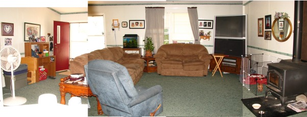 Help me re-arrange my Mobile Home Living Room, I have attempted to merge 3 photos of my living room together so that you can kind of get an idea of what it looks like, as it won't all fit in one picture. I really need help with the layout. Our front door is the main entrance to the home. We have the wood stove which can't be moved, and behind where I'm standing is our kitchen and dining room.  It is a large open floor plan.  My living room measures 21' x 13.5'.  Can anyone help me with a decent, comfy, pretty layout?, This is the panoramic view of our living room.  I am standing in the dining room taking these pictures.  I need help re-arranging and decorating it!!  Thanks so much to all who give me ideas., Living Rooms Design