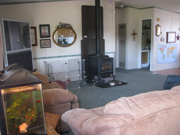 Help me re-arrange my Mobile Home Living Room, I have attempted to merge 3 photos of my living room together so that you can kind of get an idea of what it looks like, as it won't all fit in one picture. I really need help with the layout. Our front door is the main entrance to the home. We have the wood stove which can't be moved, and behind where I'm standing is our kitchen and dining room.  It is a large open floor plan.  My living room measures 21' x 13.5'.  Can anyone help me with a decent, comfy, pretty layout?, This is the view looking in from the front door., Living Rooms Design